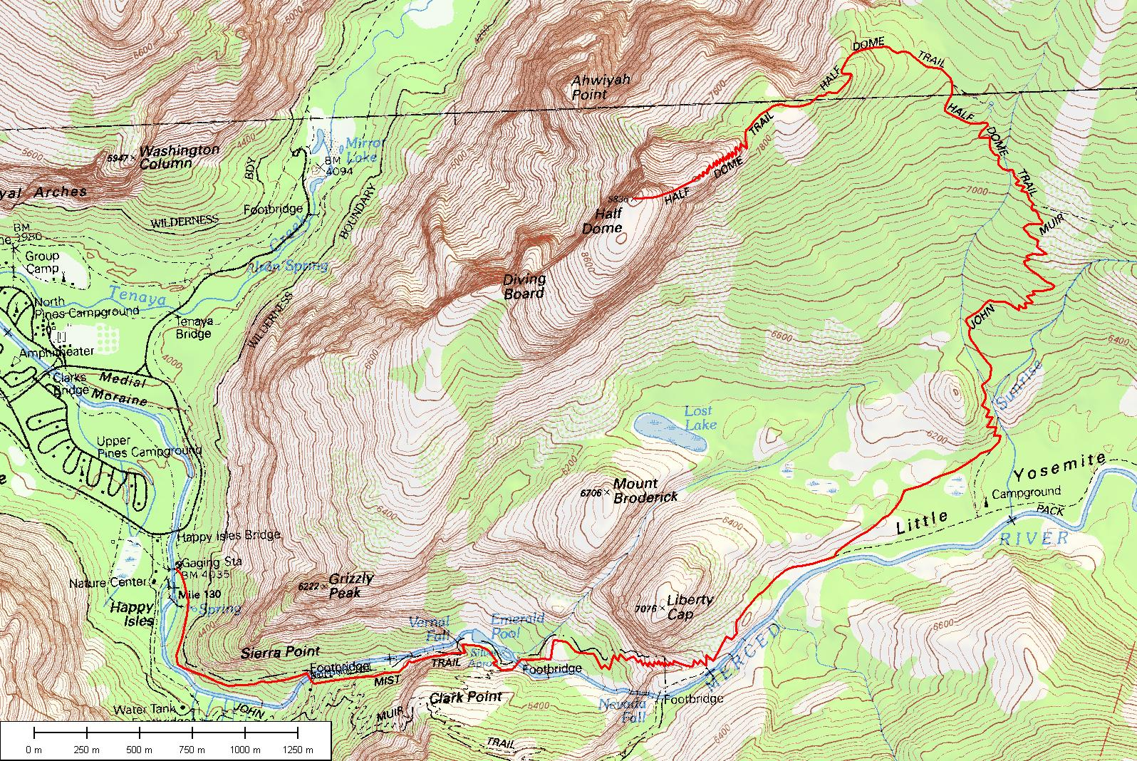 Half Dome Cable Route Hike Yosemite National Park Map And